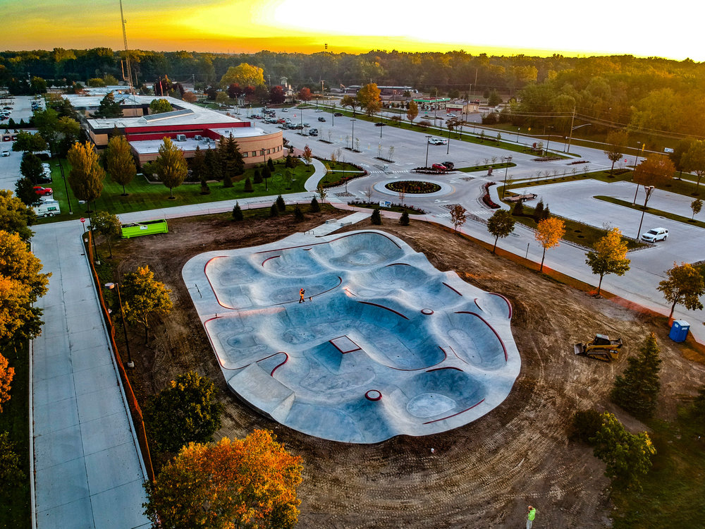 Sterling Heights, Michigan Skatepark . Winner of the 2017 Most Innovative Concrete Project in the State of Michigan.