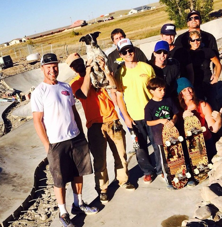 ABOVE: Jeff Ament with Billy, Noot & friends on site in Browning, Montana