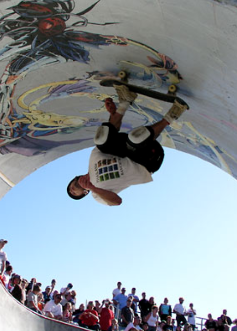 Geth gets over-vertical at the Reedsport, Oregon skatepark