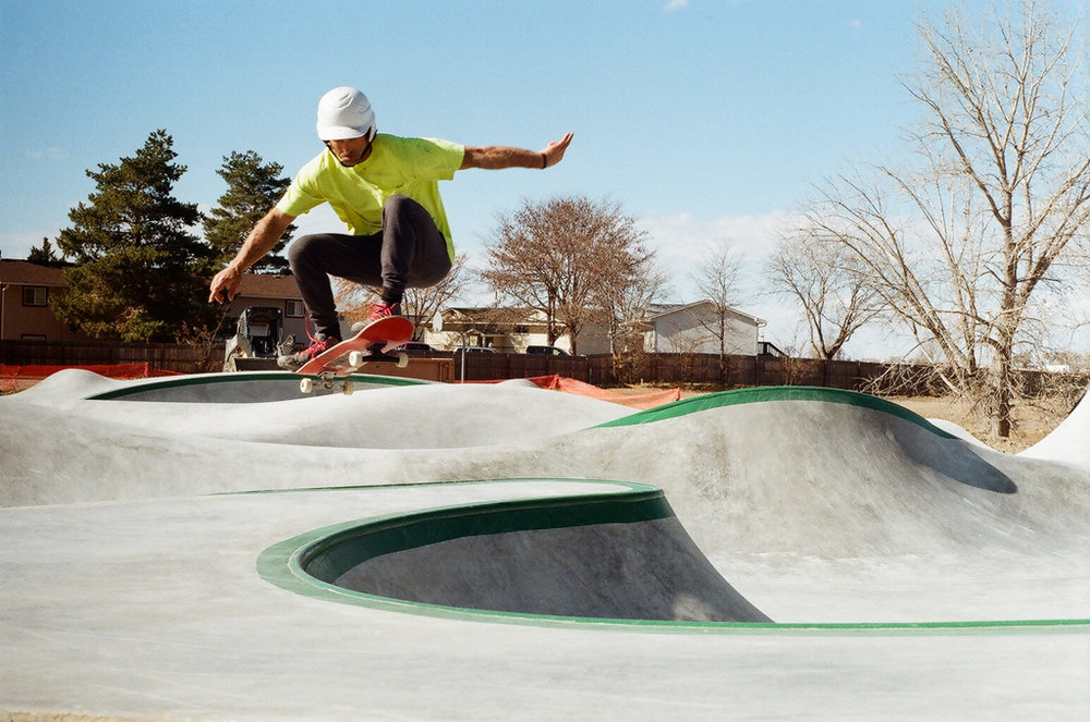 Geth catches some air time at the new Evergreen park in Fort Morgan, Colorado. 35 mm photo by Nicole McNulty