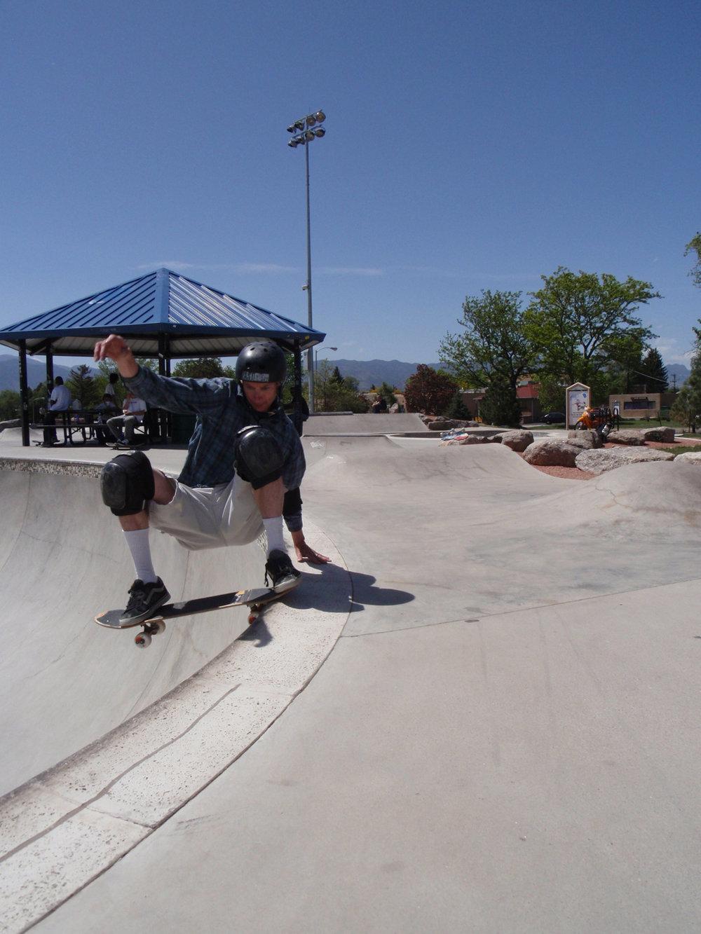 Lance ripping at Memorial Skatepark in Colorado Springs