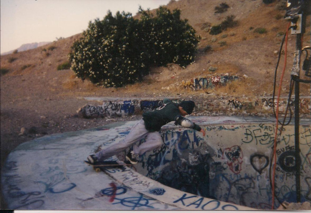 Lance rockin' at the Nude Bowl outside of Palm Springs, California, 1996. He STILL has that elbow pad - he literally just showed it to me at work.