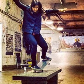 Kristina Narayan hits the bench at Commonwealth Skatepark
