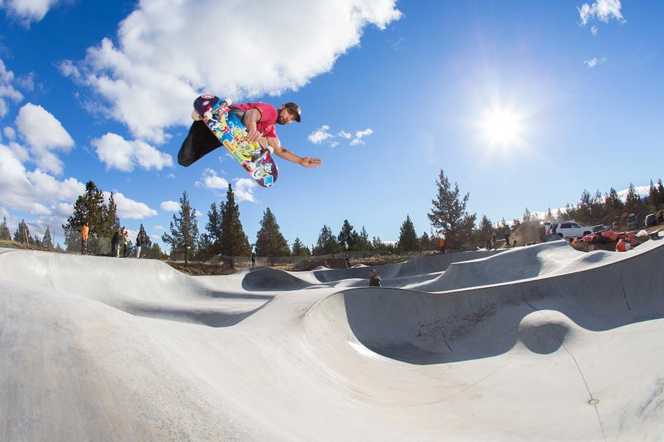Owner Billy Coulon with a method at Rockridge Skatepark in Bend, Oregon