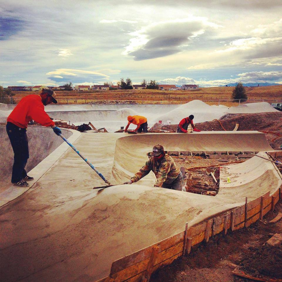 Jasper Kahn, Tony Johnson, Richie Conklin & Tavita Scanlan work on the Blackfeet Skatepark