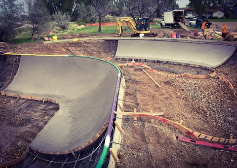 First concrete pour at the Malta, Montana Skatepark