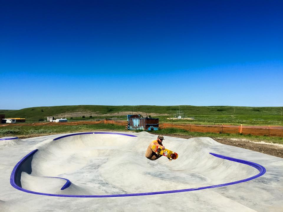 Allen Taylor catches some air at the Hays, Montana skatepark