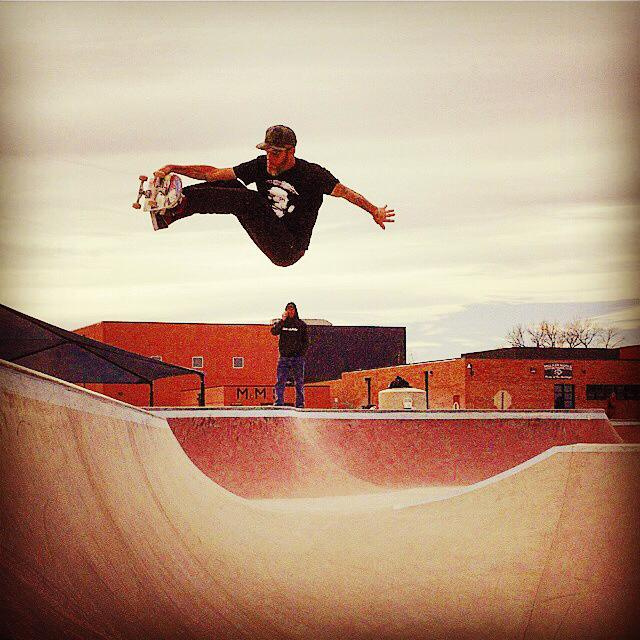 Wrex Cook blasting at the Milliken, Colorado Skatepark