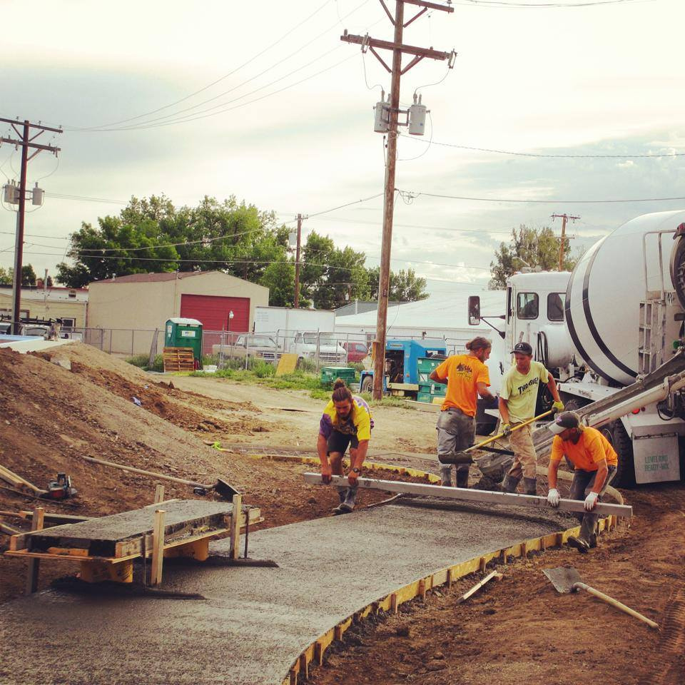 Real street construction at the Milliken, Colorado Skatepark