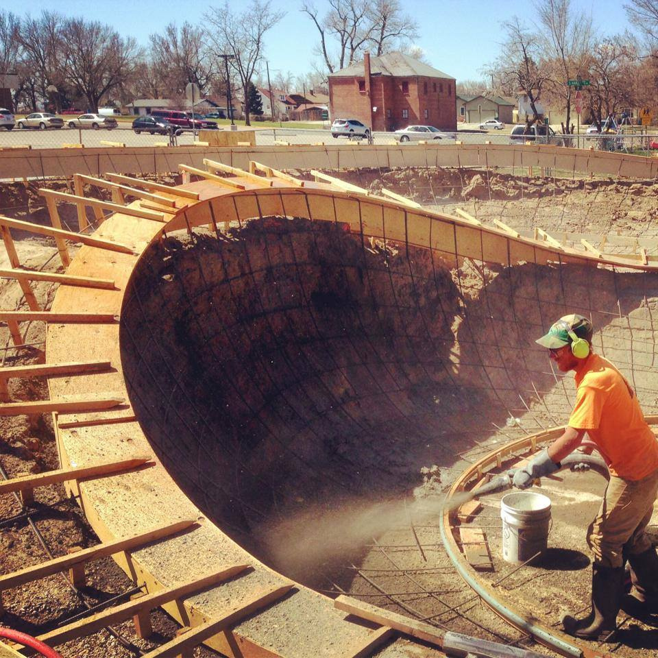 Concrete pour at the Milliken, Colorado Skatepark
