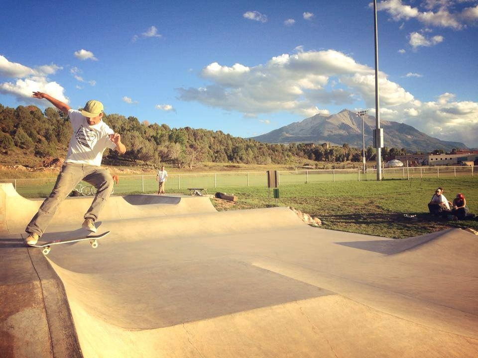 Michael Walty tail slide at the Carbondale, Colorado skatepark