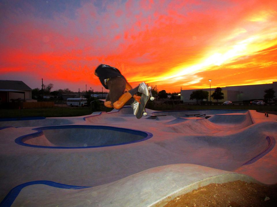 Evergreen owner Billy Coulon with a method over the hip at sunset