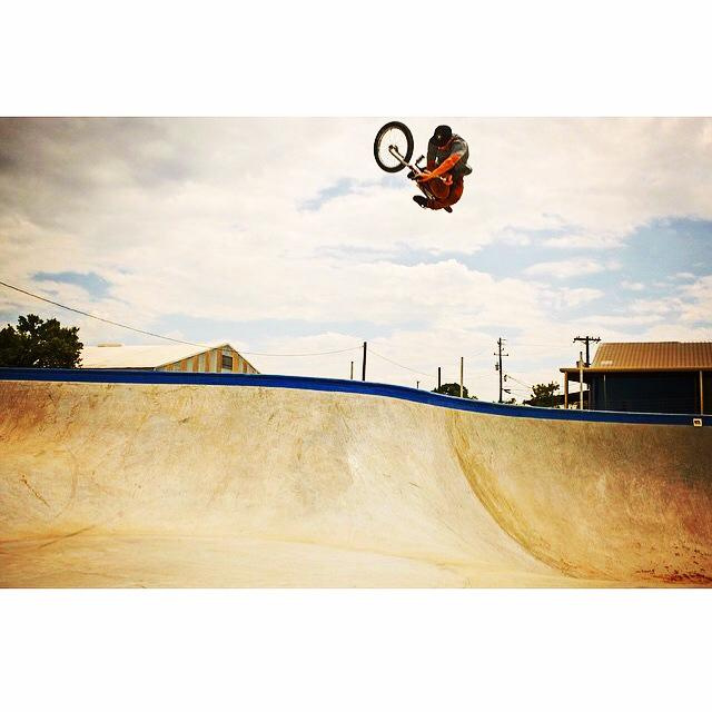X Games Gold Medalist Chase Hawk with some serious airtime at the Fredericksburg, Texas Skatepark