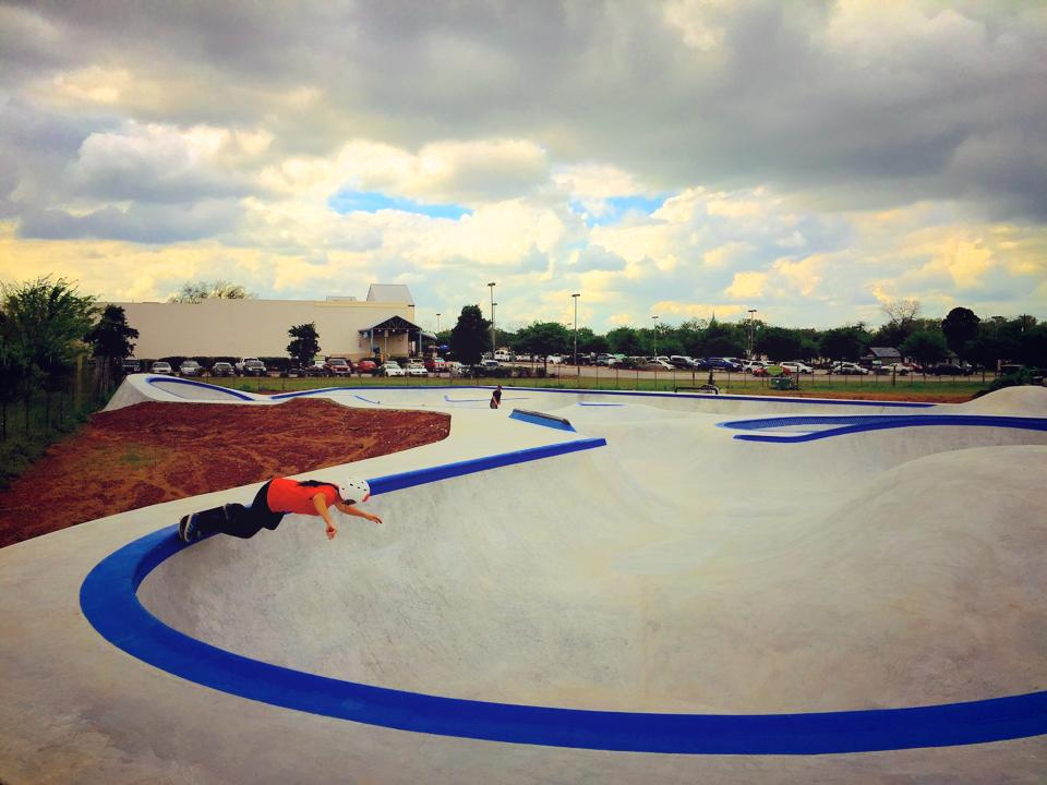 Catherine Coulon grinds at the Fredericksburg, Texas Skatepark