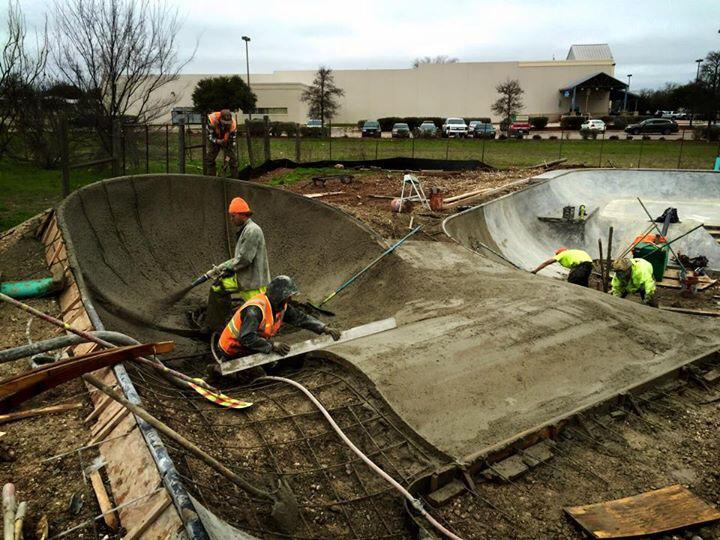 Shotcrete at the Fredericksburg, Texas Skatepark