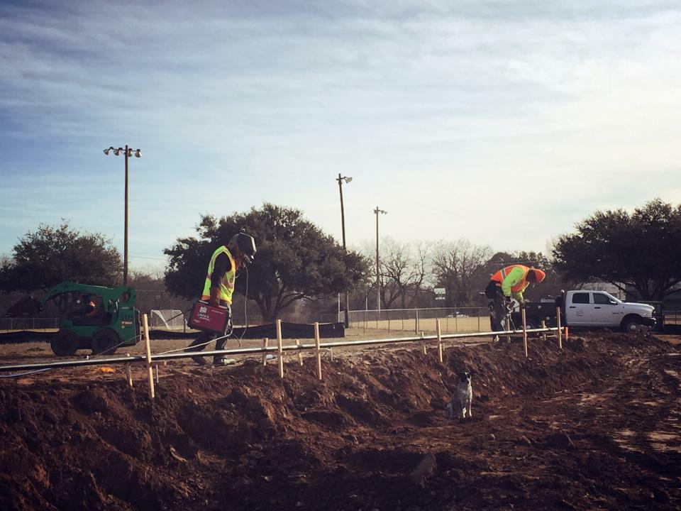 Coping's going up at the Fredericksburg, Texas Skatepark