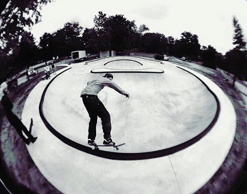Richie Conklin grinding at the Frankfort, Michigan Skatepark