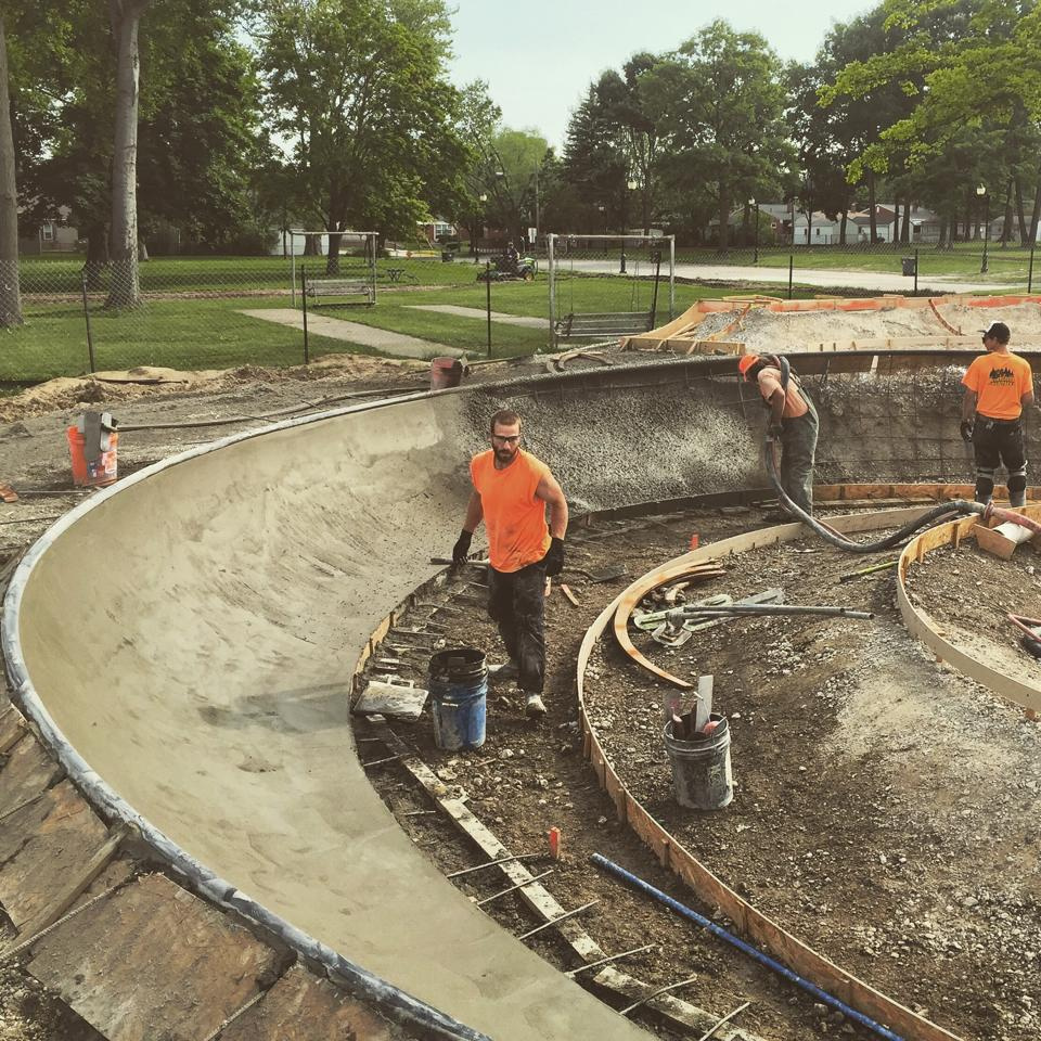 Clawson, Michigan Skatepark construction