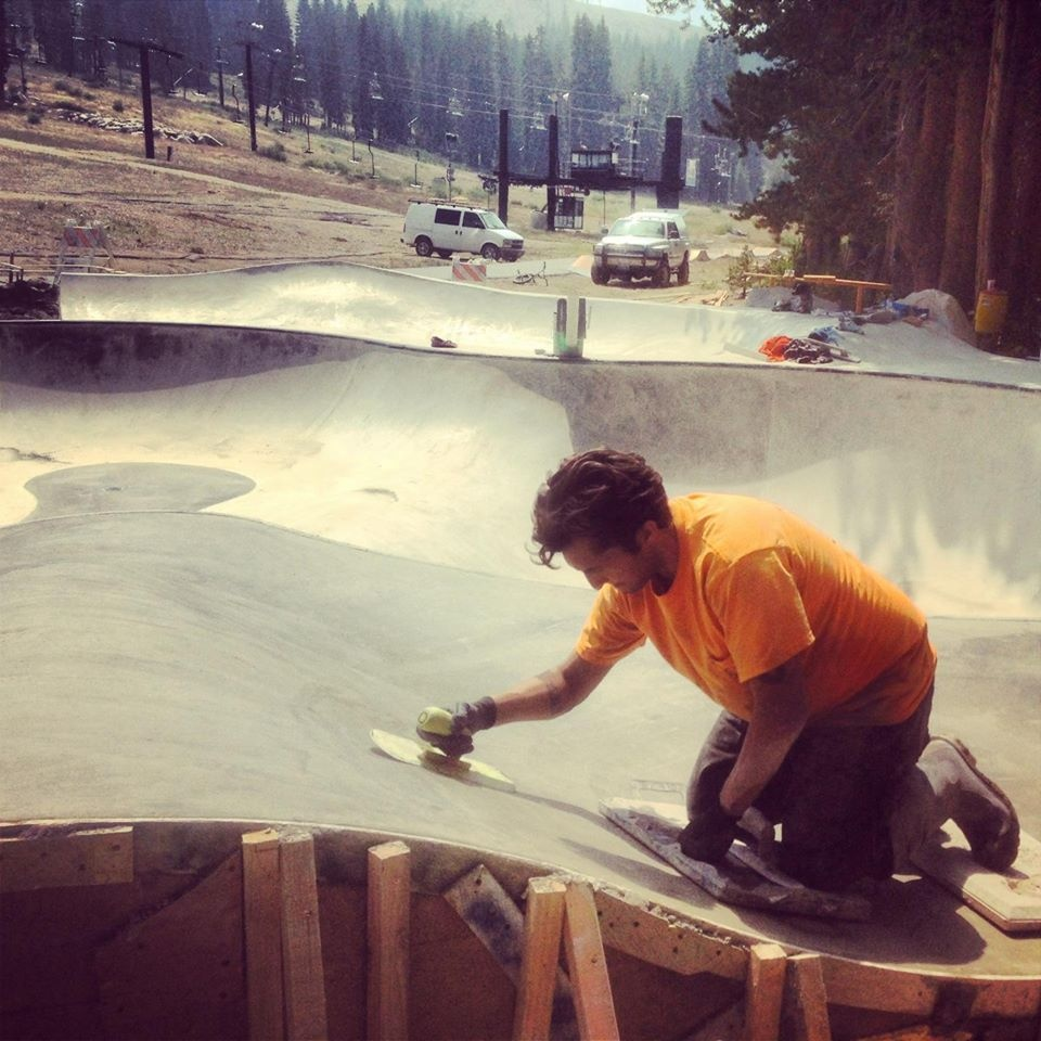 Michael Flint finishing concrete at the Woodward Tahoe Skatepark