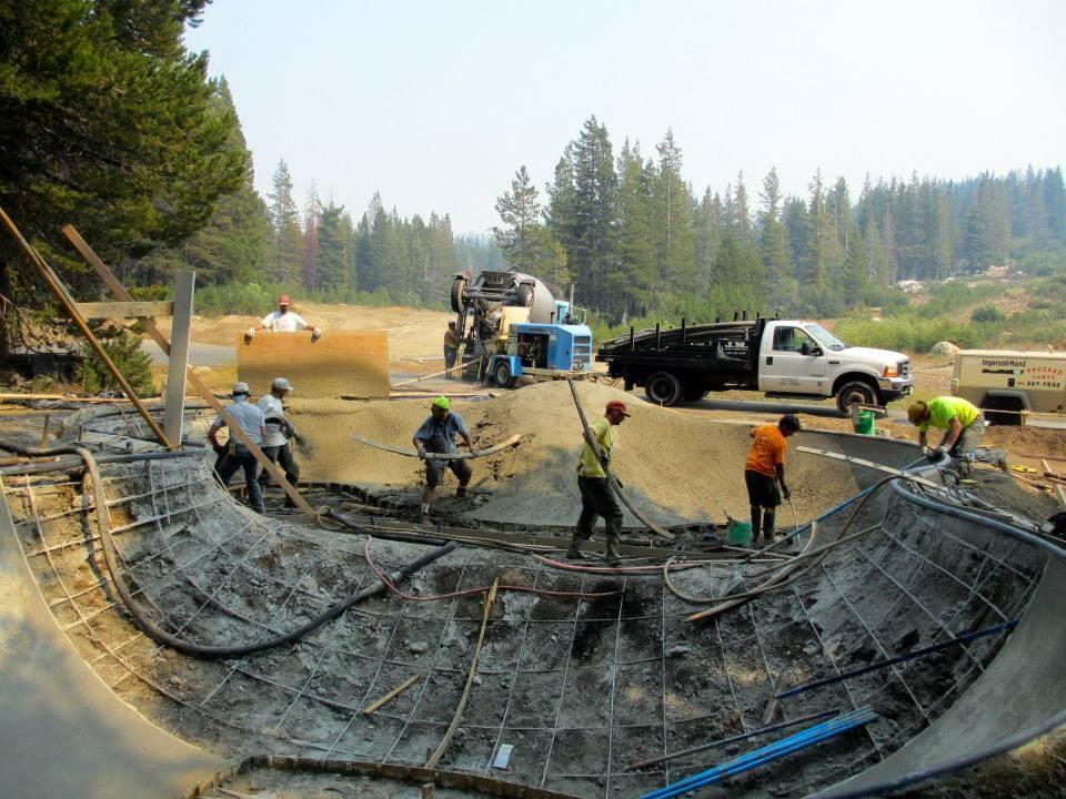 Woodward Tahoe Skatepark concrete pour