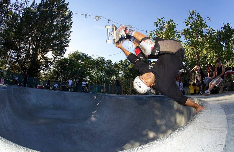 Steve Caballero invert at the Goat Bowl in Sonoma, CA