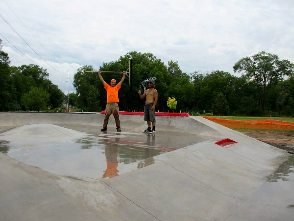 Billy & Jasper working on the Eau Claire Skatepark