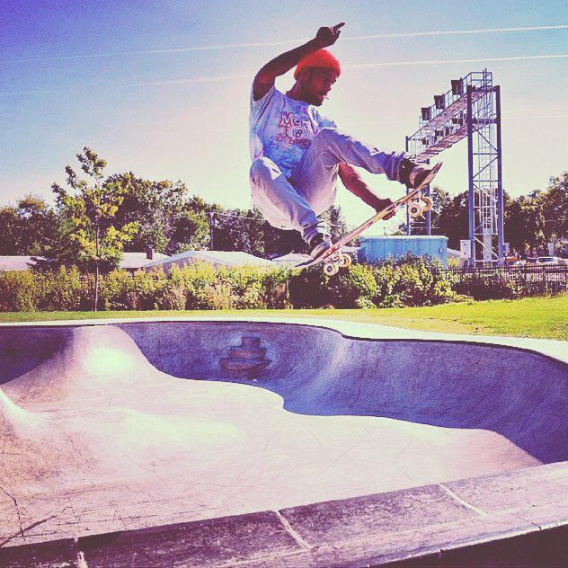 Calvin with an air at the Villa Park, Illinois Skatepark