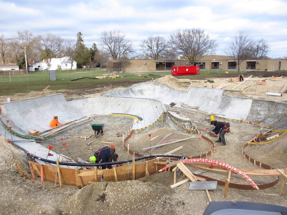 Bowl construction at the Villa Park, Illinois Skatepark
