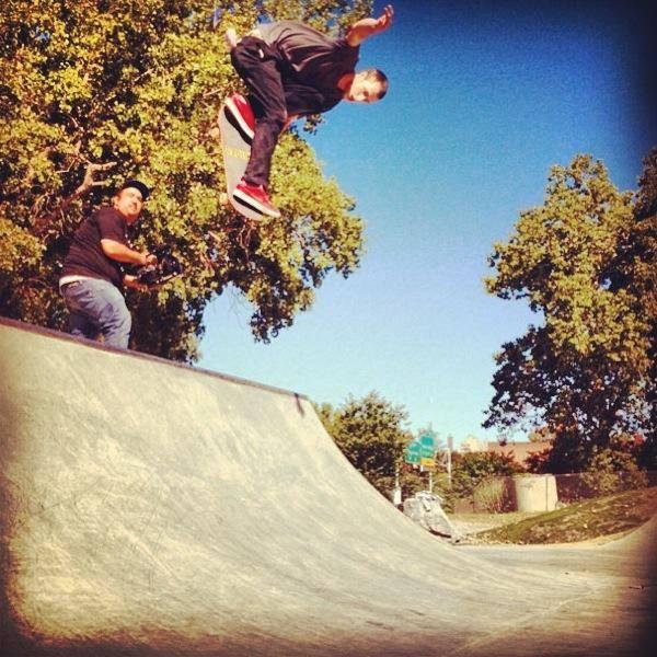 Grant Taylor tweaking at the Buffalo, New York Skate Plaza