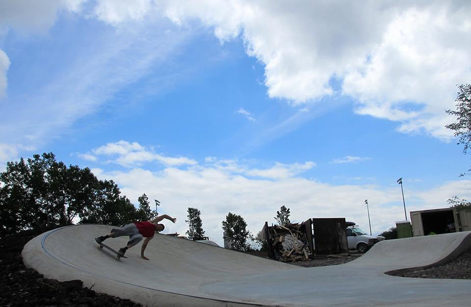 Geth Noble skating the Buffalo, New York Skate Plaza after construction