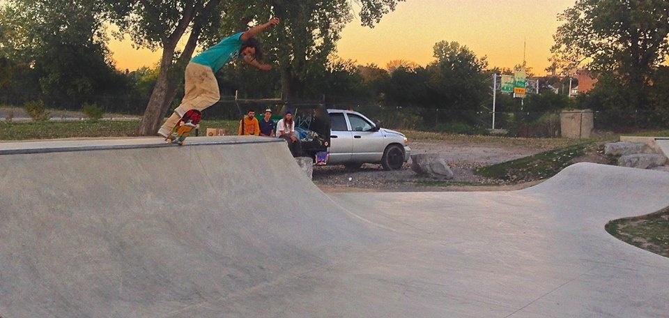 Jasper grinding at the Buffalo, New York Skate Plaza