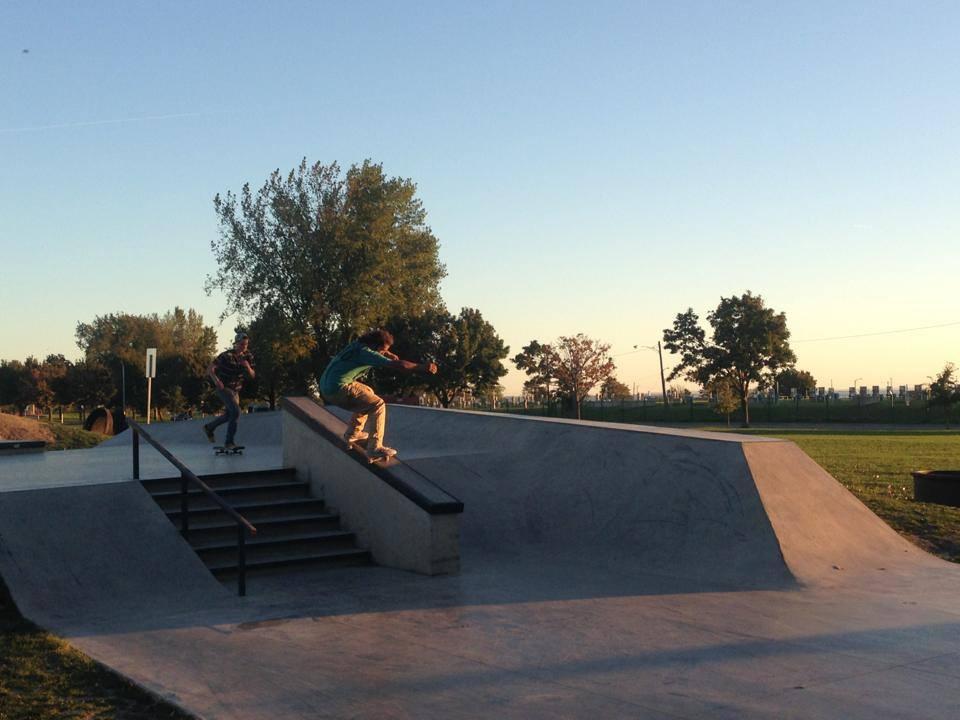 Jasper grinds down the ledge at the Buffalo, New York Skate Plaza