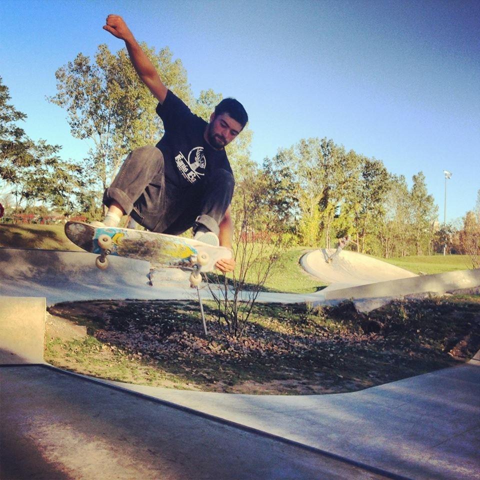 Michael Walty airs the hip at the Buffalo, New York Skate Plaza