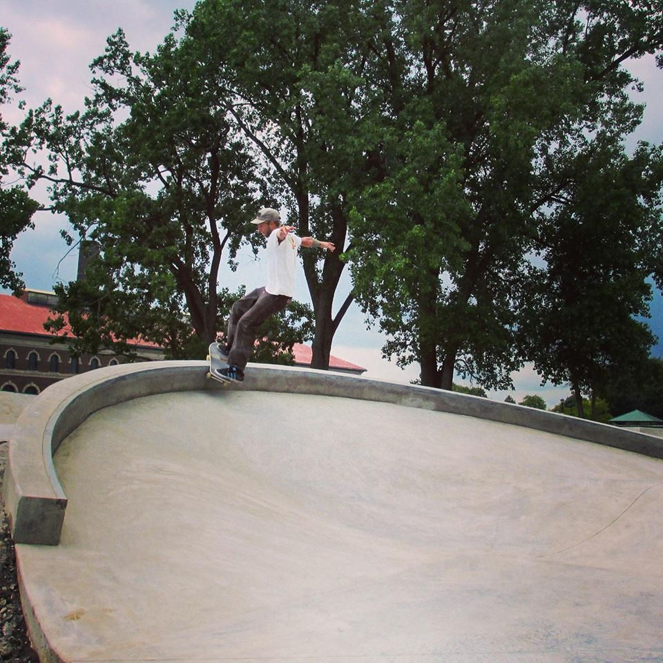 Evergreen crew member Justin McDowell testing out the Buffalo, New York Skate Plaza