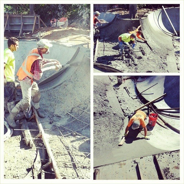 Pouring concrete at the Epworth Skatepark