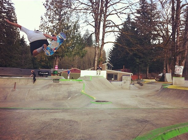 Evergreen Skateparks owner Billy Coulon blasts a method at Windells Camp