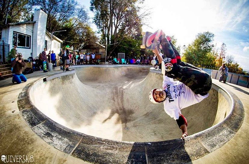 Steve Caballero with a frontside invert at the Beeble Bowl