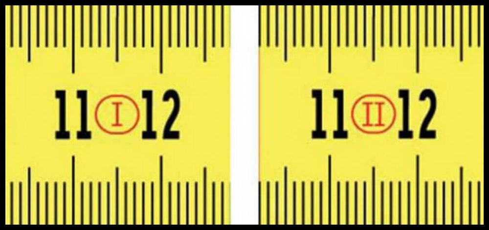 Tape measure numbers roman