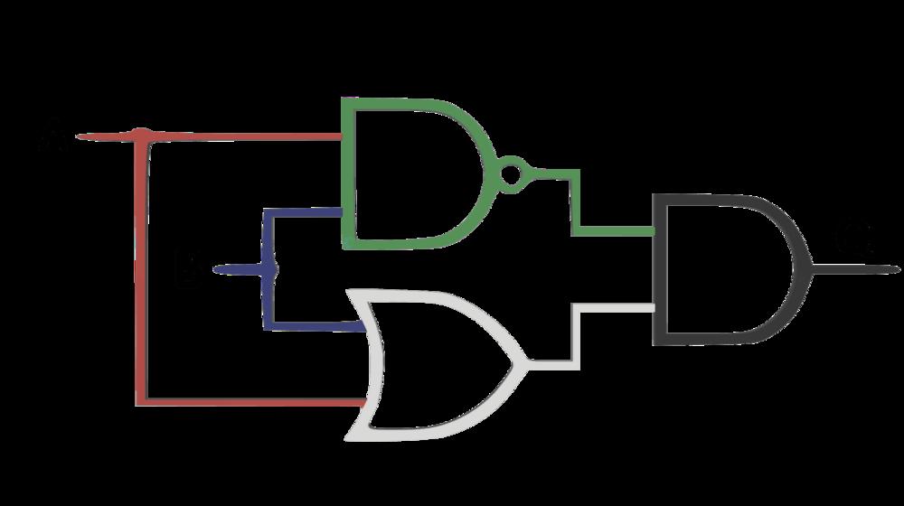 Compuerta XOR con compuerta NAND, OR y AND