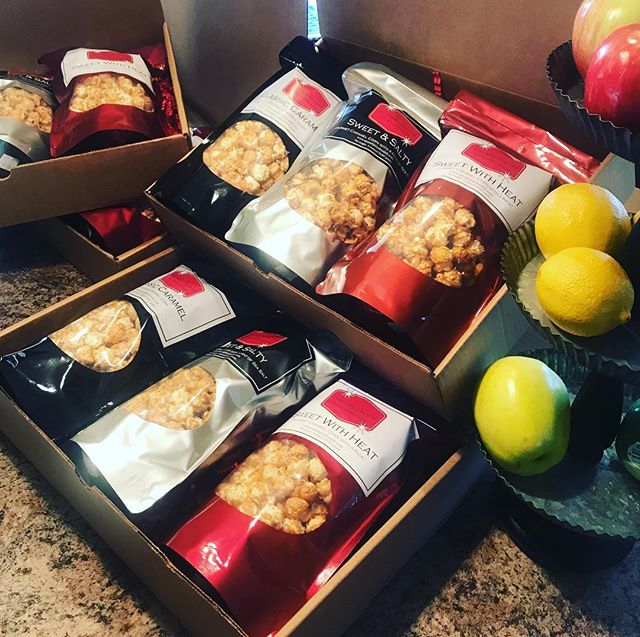 Nothing says fall like caramel corn! Orders heading out today. Thank you's client appreciation or just-because-gifts!  All this goodness in one box! #caramelcorn #fall #serendipitydoodah #pnwmade #buylocal #harvest #smallbiz
