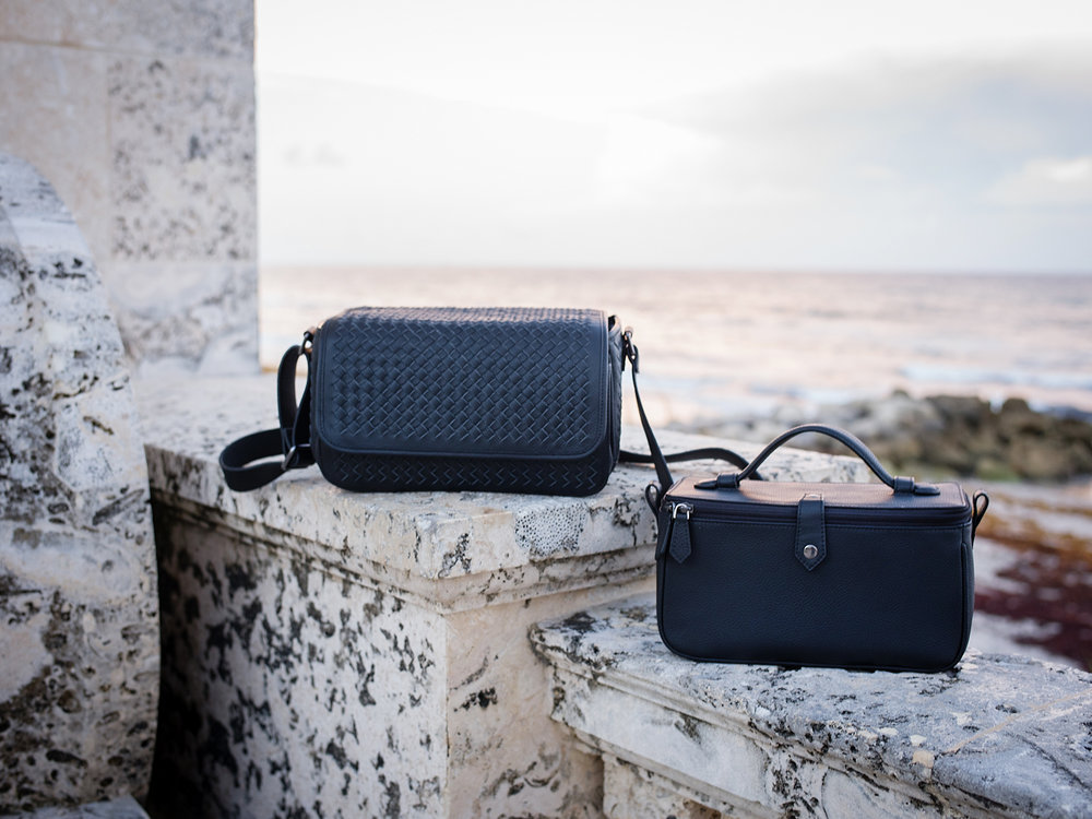 Vi Vante Targa Leather Woven Camera Bag and inner bag
