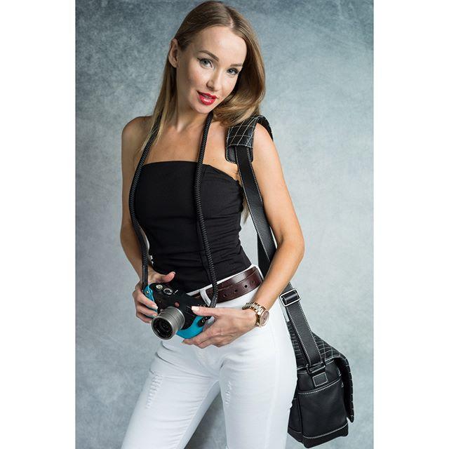 "The Vi Vante ""Sheetline"" Camera Strap & ""Exotic"" Camera bag. Modeled by @natali_trubchikova"