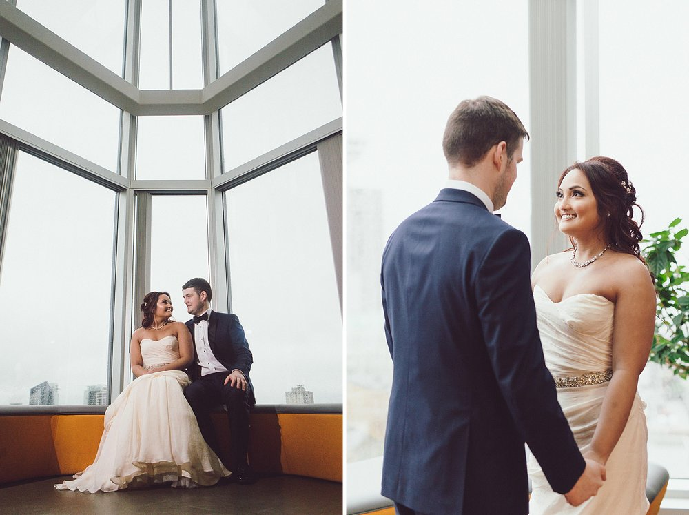 Bride and Groom Portraits in an office building