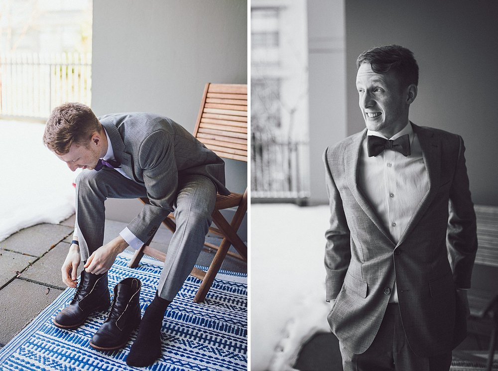 Tim putting on wedding shoes