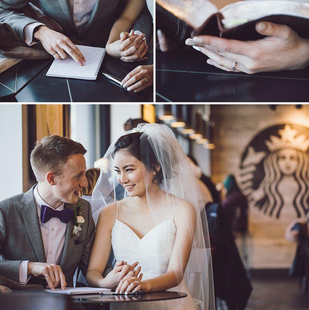 Bride and Groom enjoy time together in Starbucks