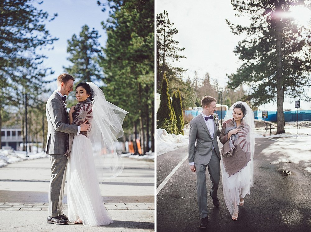Bride and Groom on campus at SFU