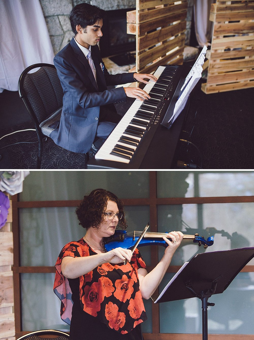 Live music, piano and violin at the wedding ceremony