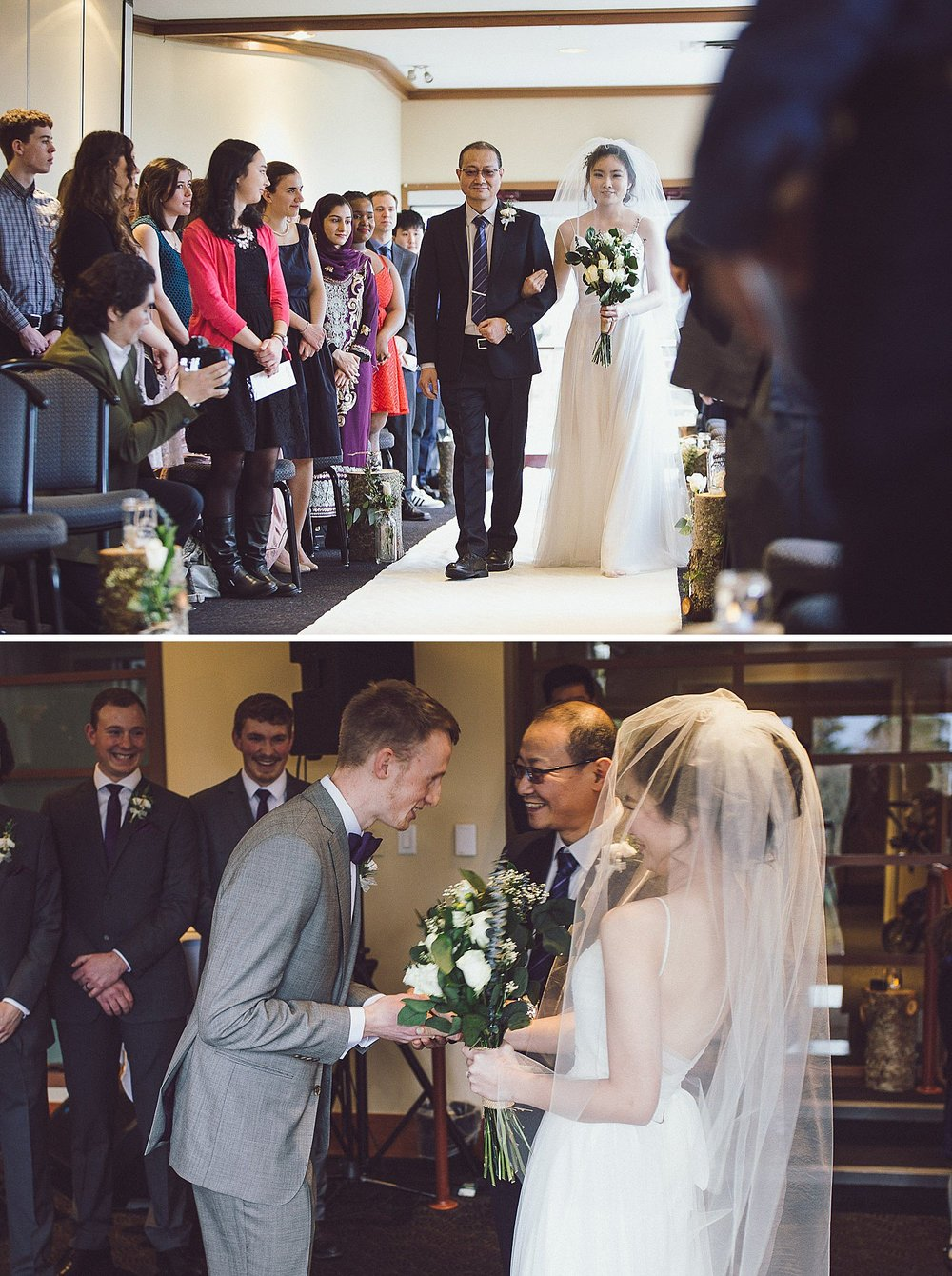 Angel's father walks her down the aisle to Tim