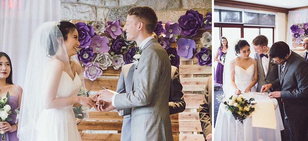 Beaming bride and groom