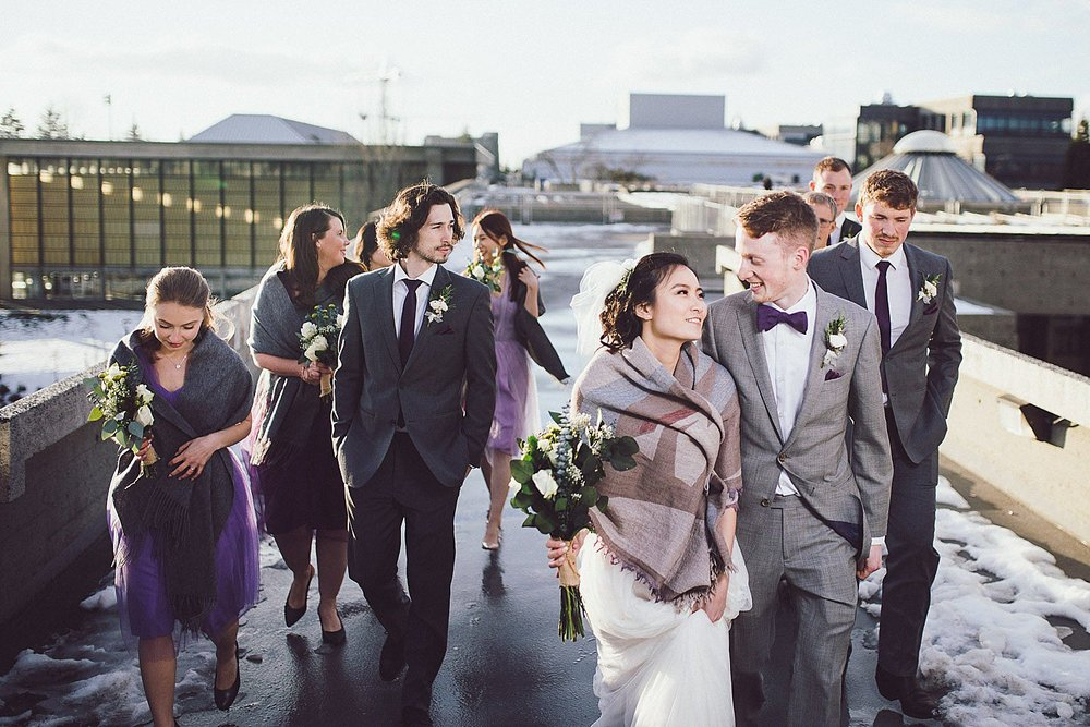 Wedding party on the rooftop of the Convocation Mall at SFU